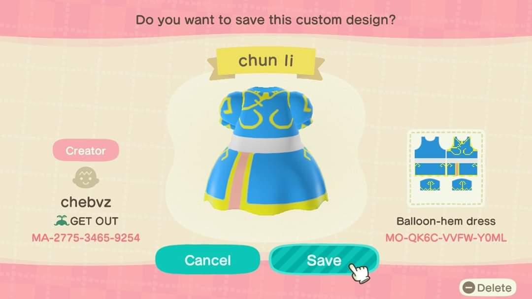 Chun Li (SF) - Animal Crossing: New Horizons Custom Design