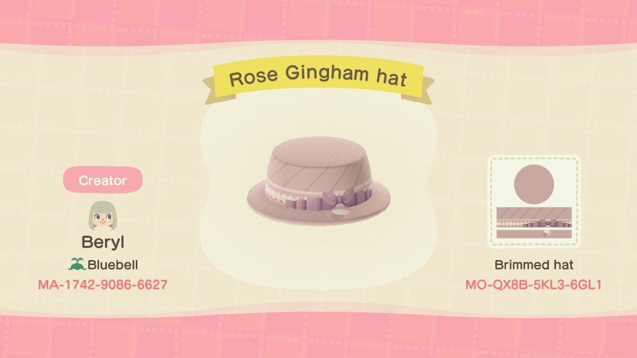 Rose Gingham Hat - Animal Crossing: New Horizons Custom Design