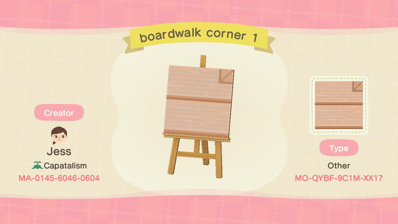 boardwalk corner 1 - Animal Crossing: New Horizons Custom Design