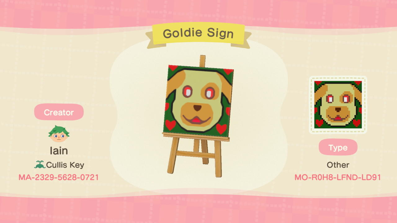 Goldie Sign - Animal Crossing: New Horizons Custom Design