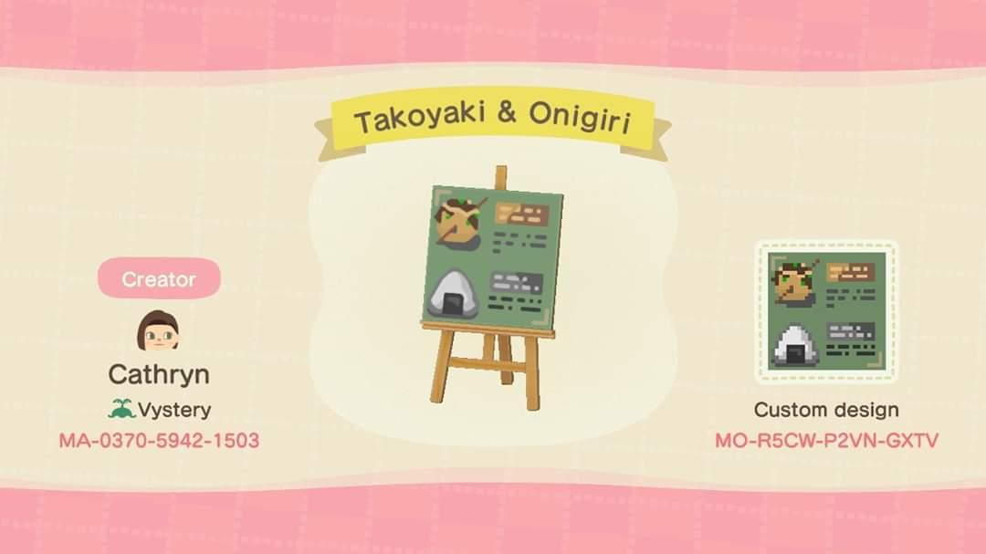 Food Menu Onigiri Animal Crossing New Horizons Custom Design Nook S Island