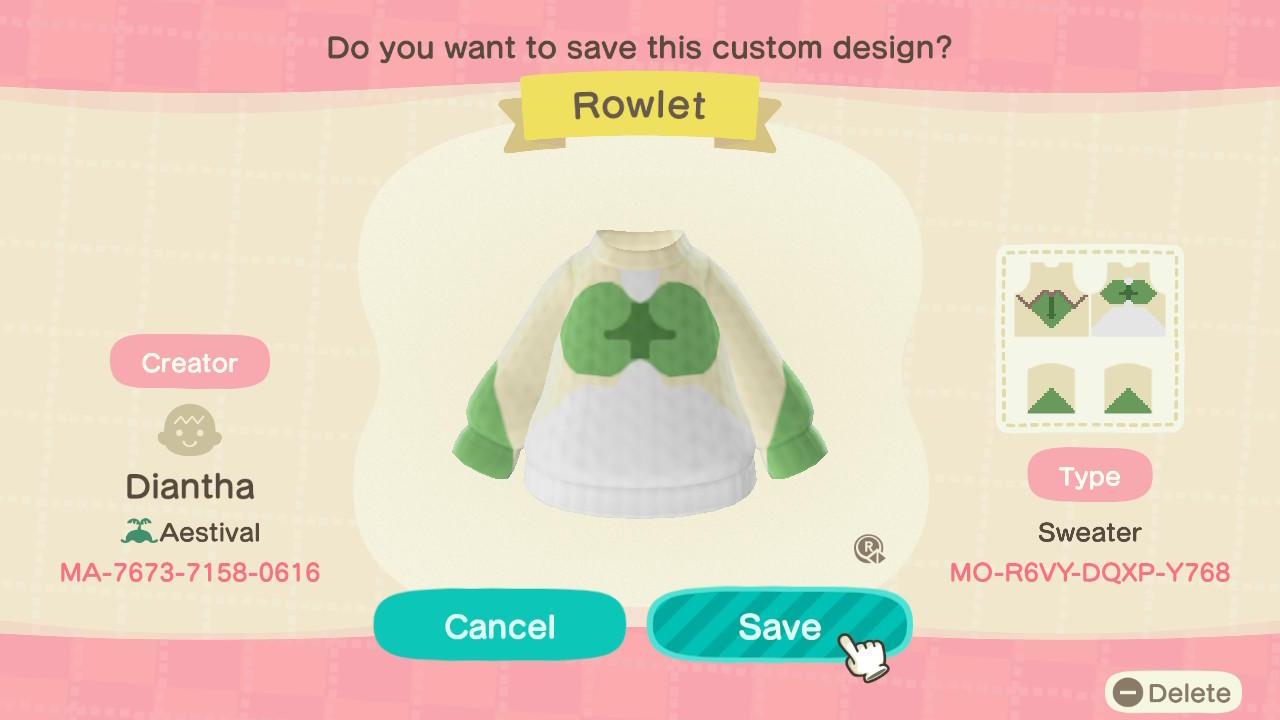 Rowlet Sweater - Animal Crossing: New Horizons Custom Design