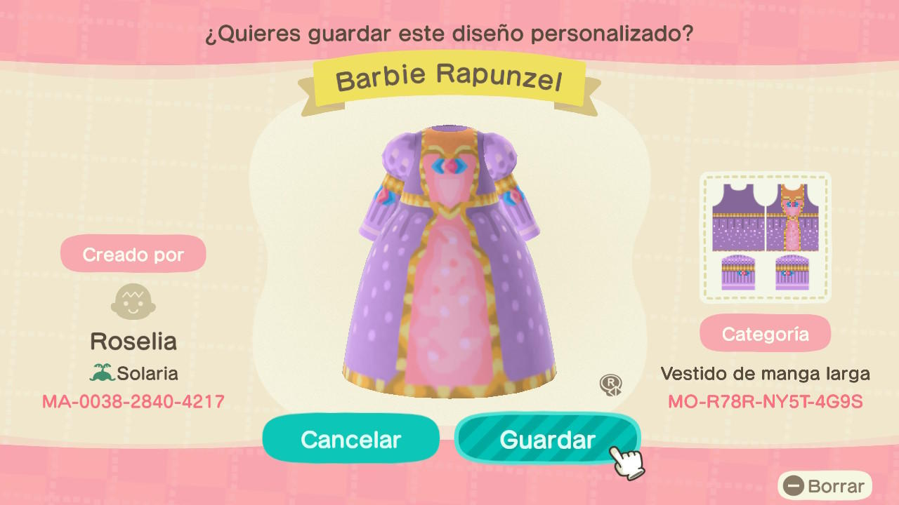 Barbie Rapunzel - Animal Crossing: New Horizons Custom Design