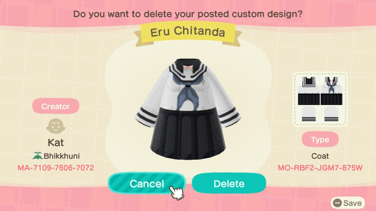 Eru Chitanda - Animal Crossing: New Horizons Custom Design