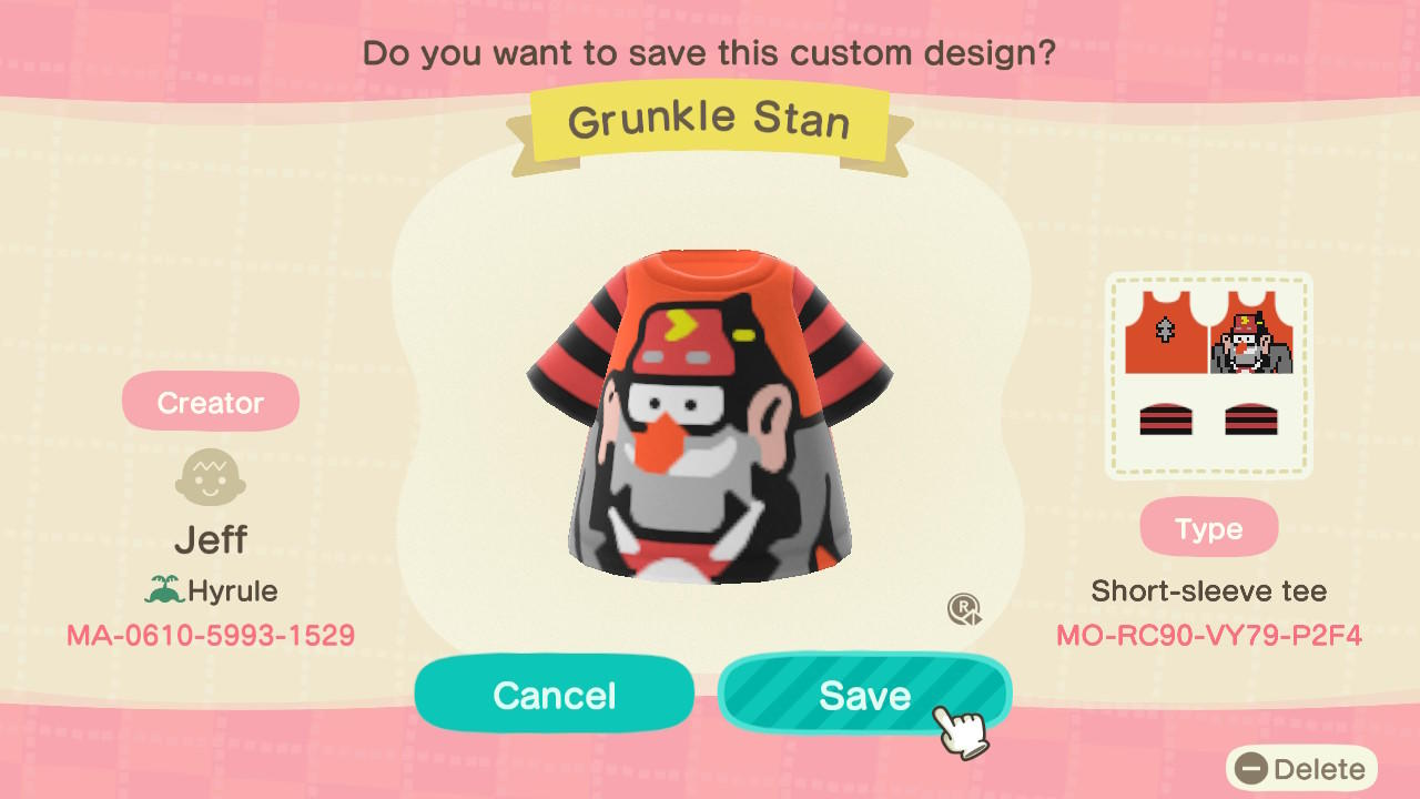 Grunkle Stan - Animal Crossing: New Horizons Custom Design