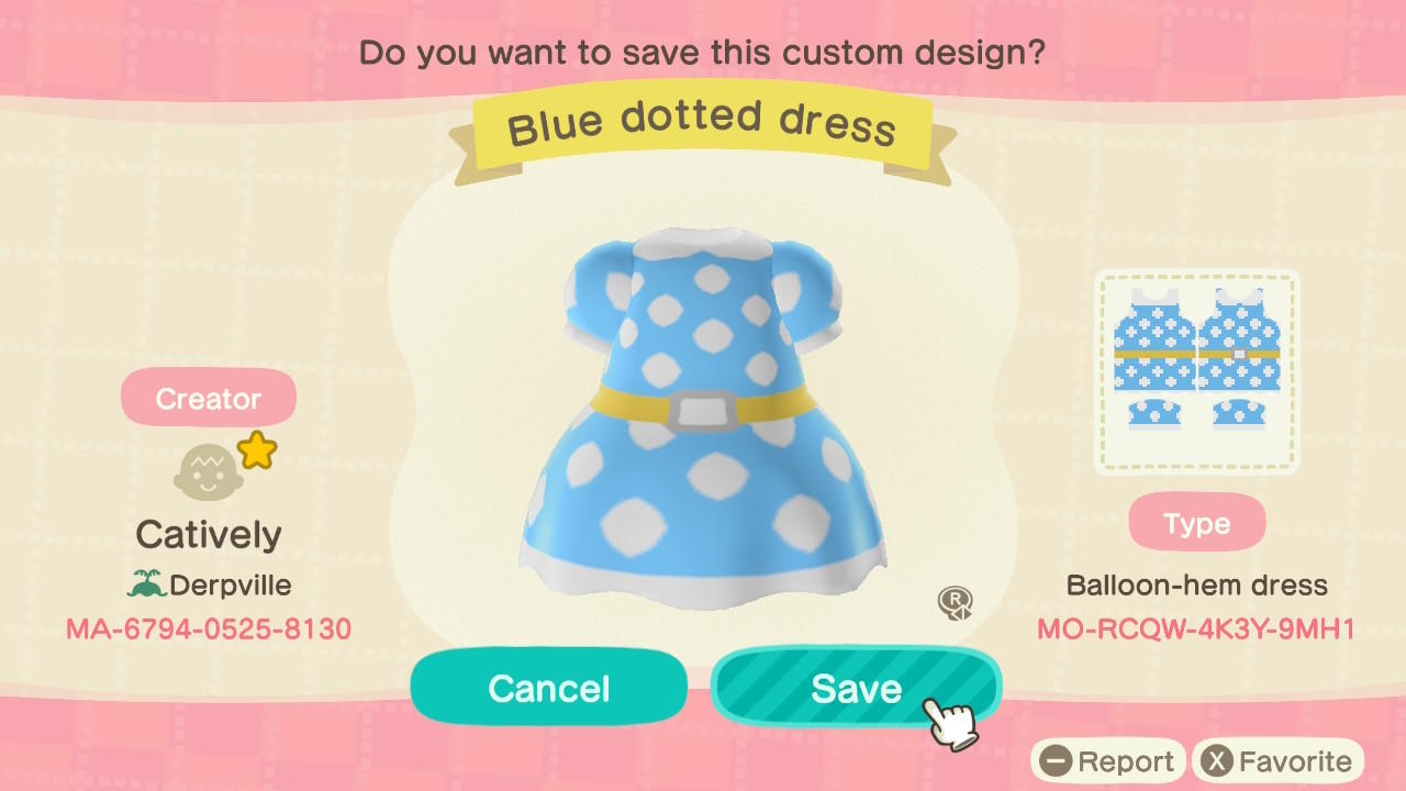 Blue Dotted Dress - Animal Crossing: New Horizons Custom Design