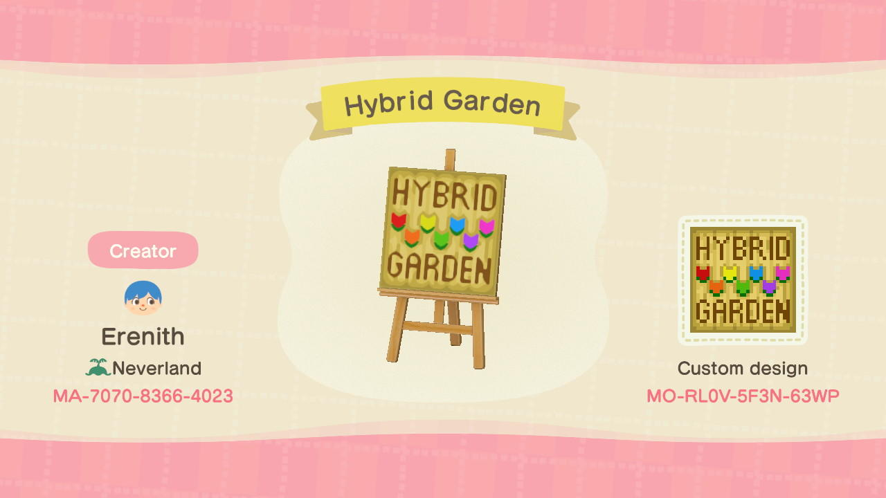 Hybrid Garden Sign Animal Crossing New Horizons Custom Design Nook S Island