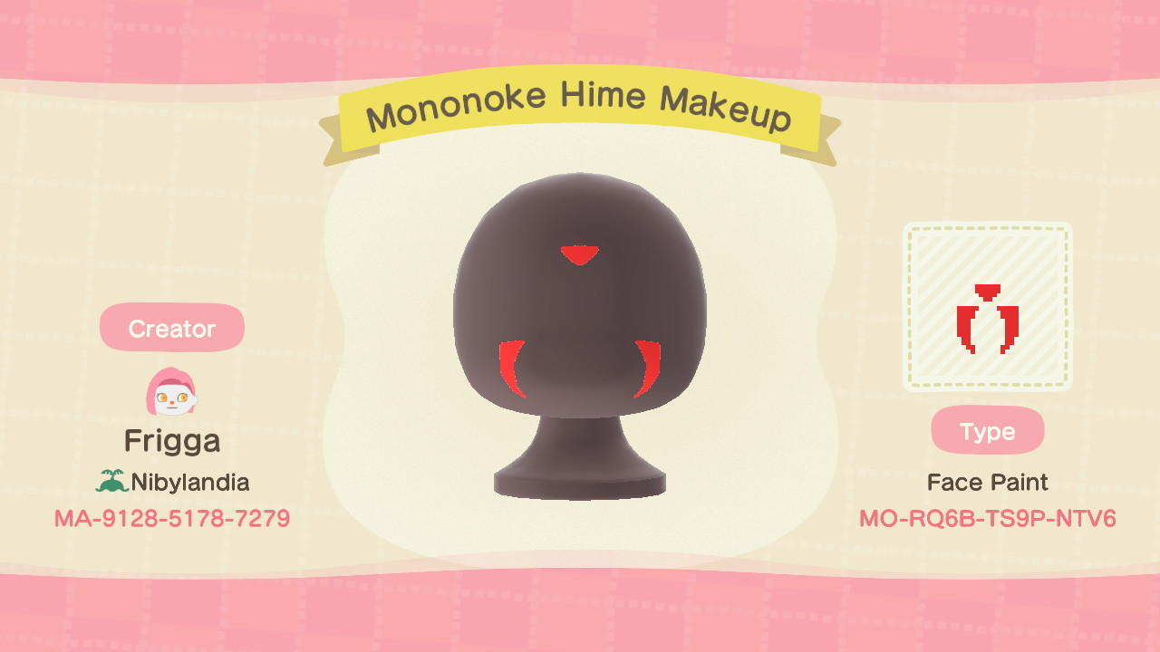 Mononoke Hime Makeup - Animal Crossing: New Horizons Custom Design