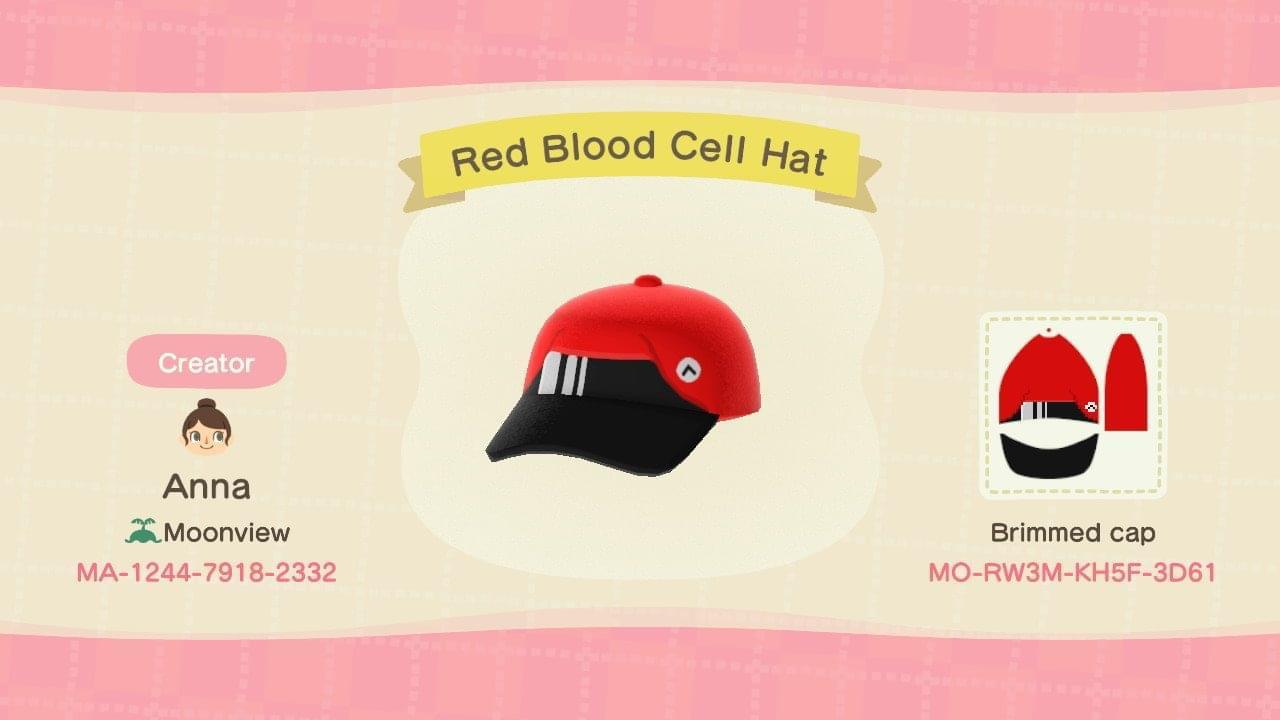 Red Blood Cell Hat - Animal Crossing: New Horizons Custom Design