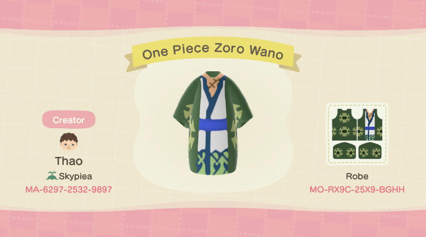 One Piece Zoro Wano - Animal Crossing: New Horizons Custom Design