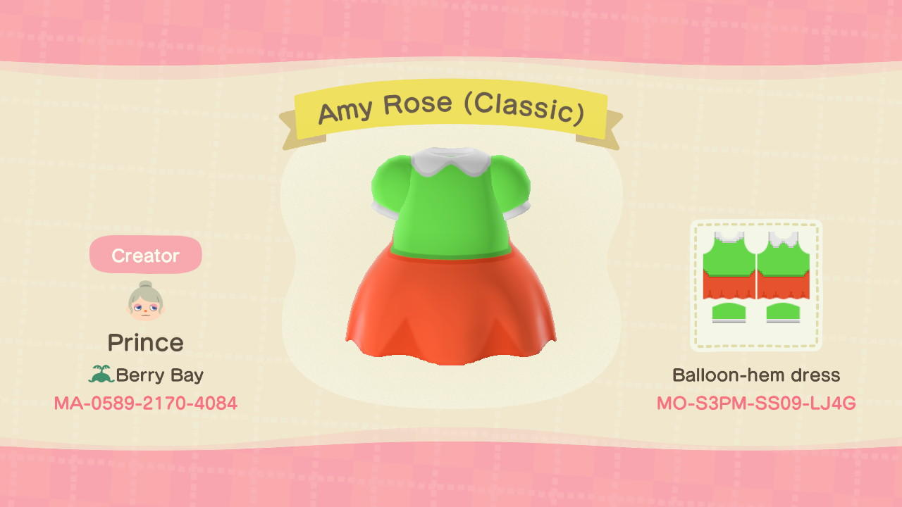 Amy Rose (Classic) - Animal Crossing: New Horizons Custom Design