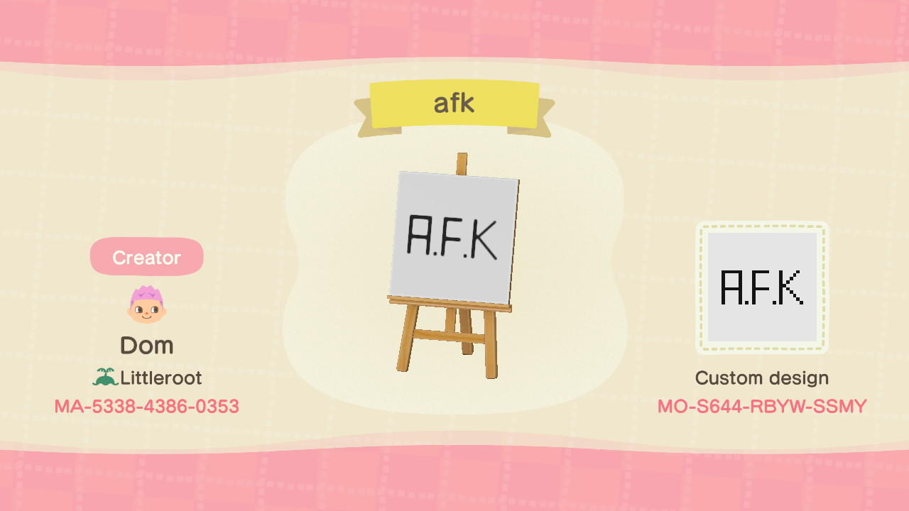 afk sign - Animal Crossing: New Horizons Custom Design