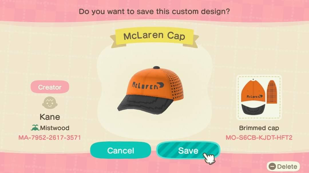 McLaren F1 2020 Cap - Animal Crossing: New Horizons Custom Design