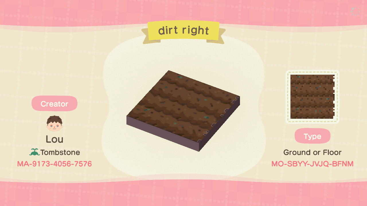dirt right - Animal Crossing: New Horizons Custom Design