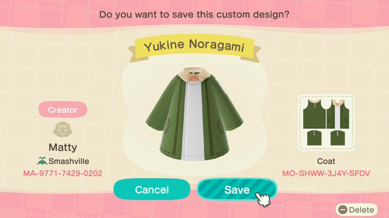 Yukine Noragami - Animal Crossing: New Horizons Custom Design
