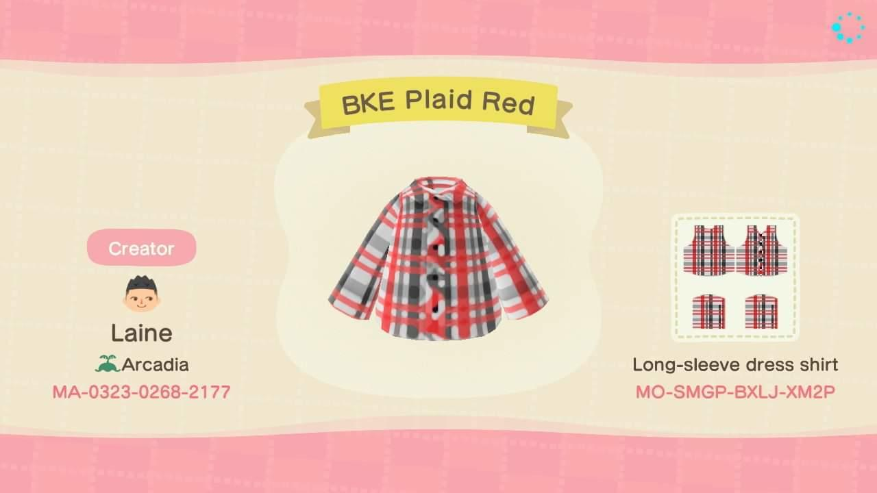 BKE Plaid Red - Animal Crossing: New Horizons Custom Design