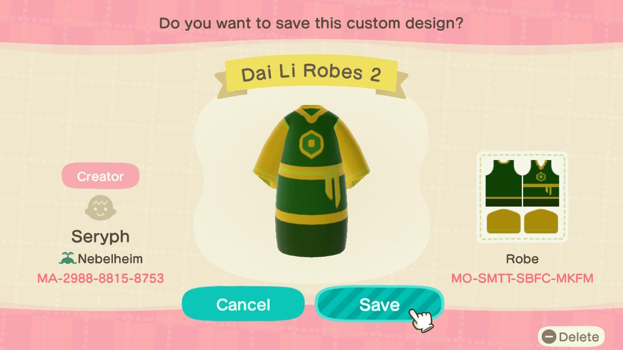 Dai Li Robes (2) - Animal Crossing: New Horizons Custom Design