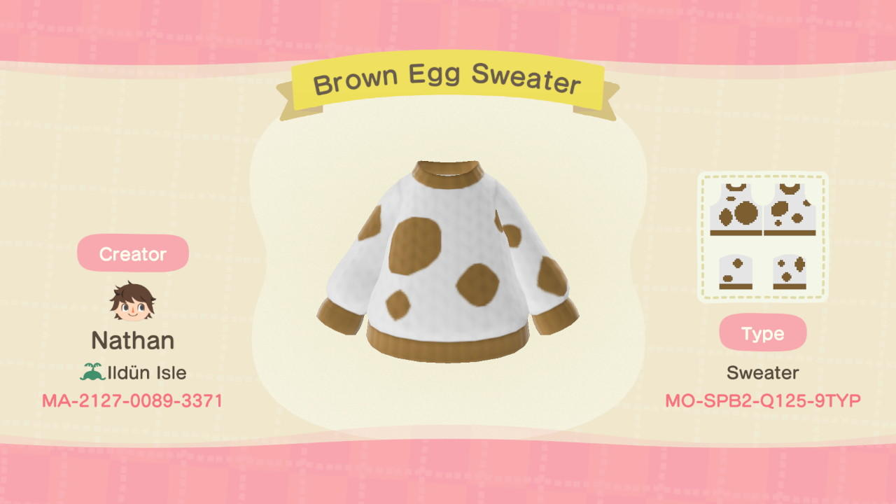 Brown Egg Sweater - Animal Crossing: New Horizons Custom Design