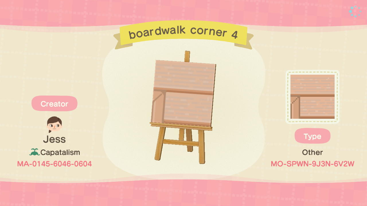 boardwalk corner 4 - Animal Crossing: New Horizons Custom Design