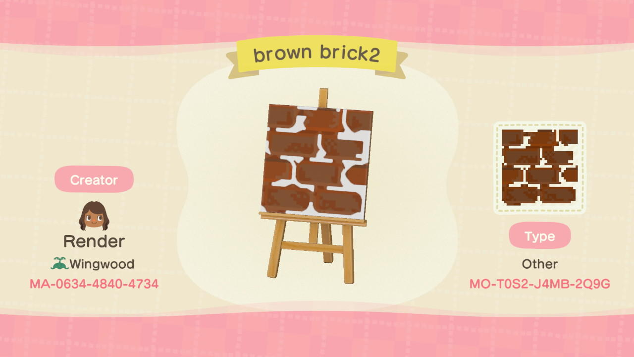 Brown brick2 - Animal Crossing: New Horizons Custom Design