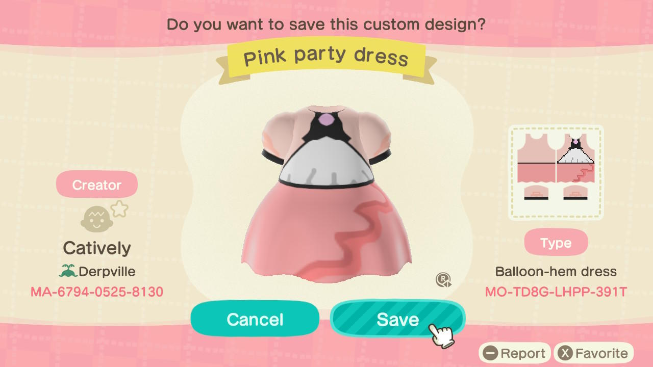 Pink party dress - Animal Crossing: New Horizons Custom Design