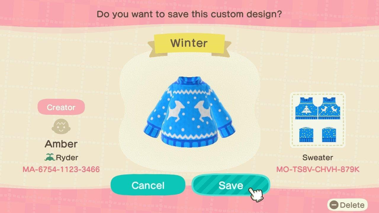 Winter Blue Sweater - Animal Crossing: New Horizons Custom Design