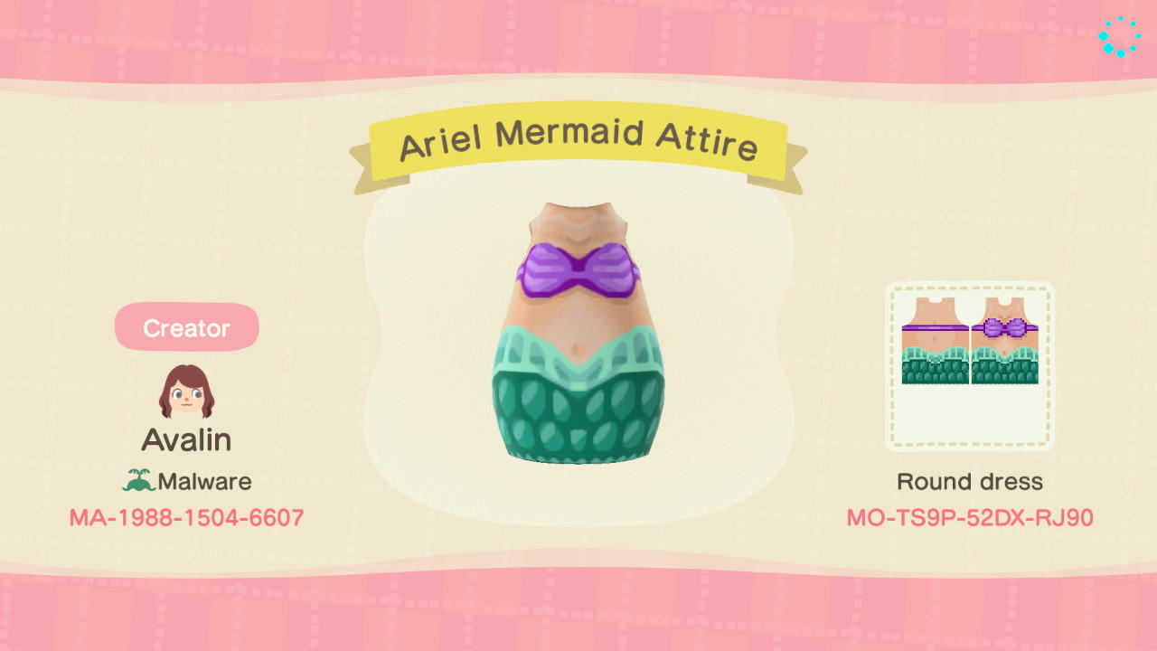 Ariel Mermaid Attire - Animal Crossing: New Horizons Custom Design