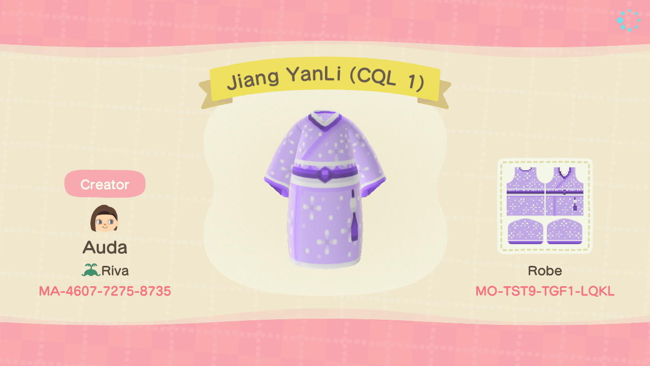 Jiang Yanli (CQL 1) - Animal Crossing: New Horizons Custom Design