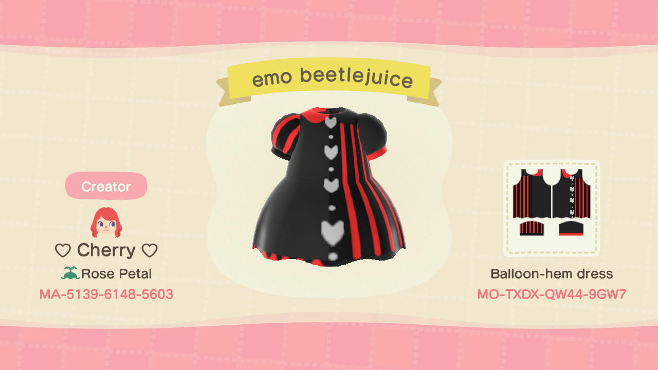 Emo Beetlejuice  - Animal Crossing: New Horizons Custom Design