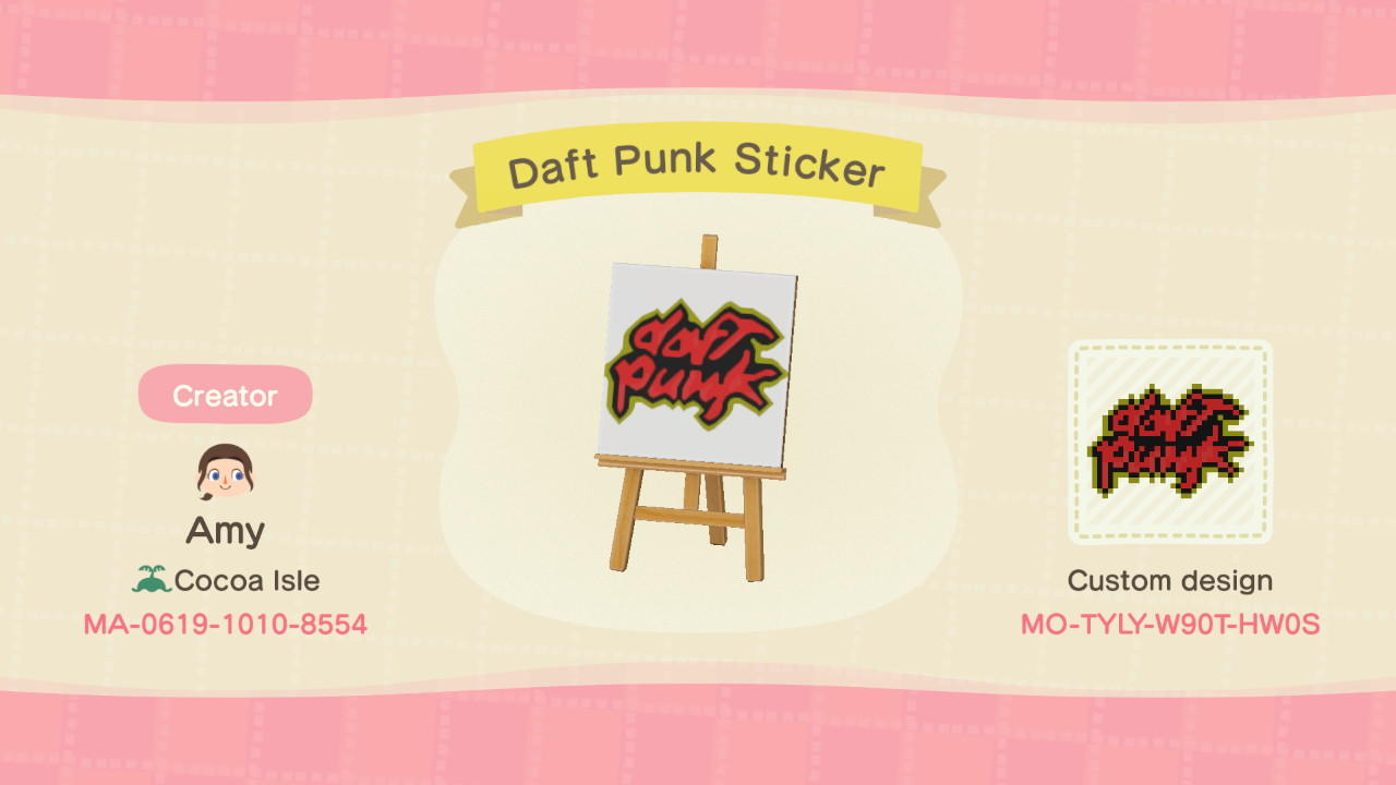 Daft Punk Sticker - Animal Crossing: New Horizons Custom Design