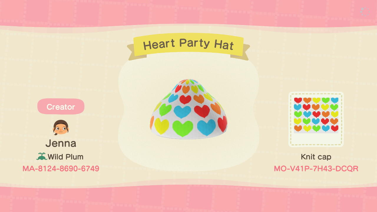 Heart Party Hat - Animal Crossing: New Horizons Custom Design