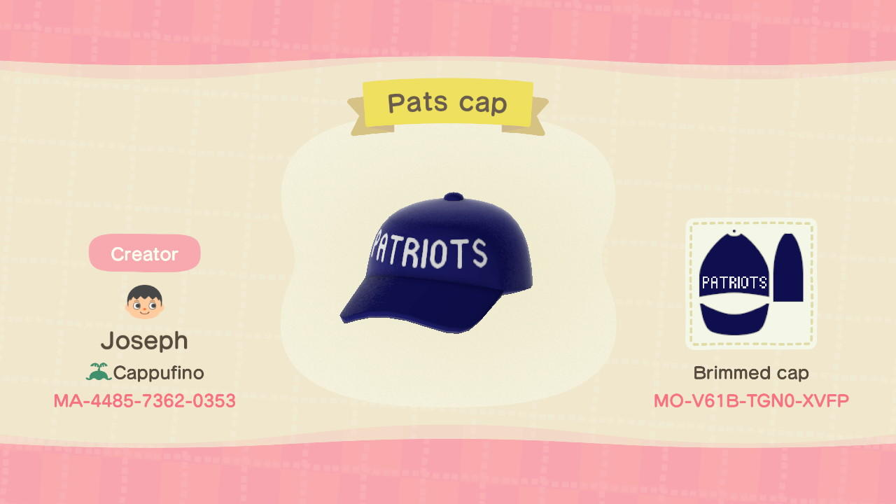 New England Pats Cap - Animal Crossing: New Horizons Custom Design