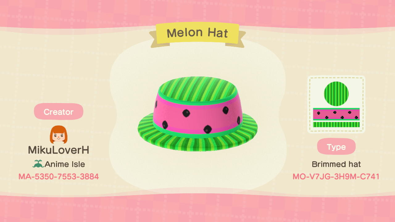Melon Hat - Animal Crossing: New Horizons Custom Design