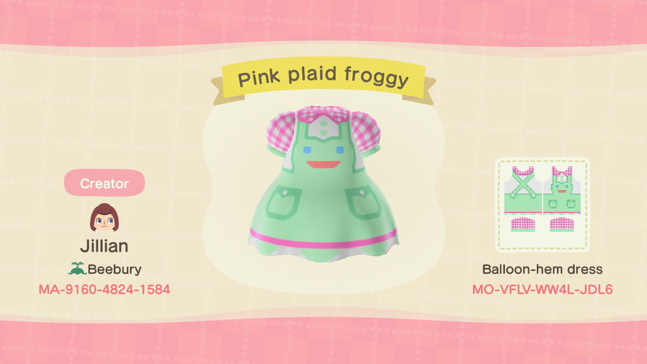 Pink plaid froggy - Animal Crossing: New Horizons Custom Design