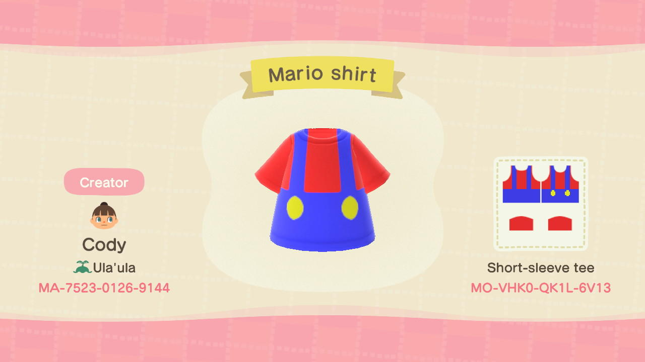 Mario shirt - Animal Crossing: New Horizons Custom Design