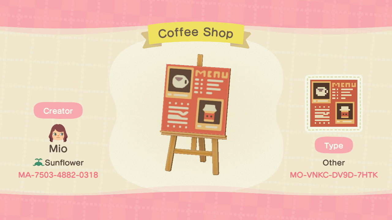 Coffee Shop - Animal Crossing: New Horizons Custom Design