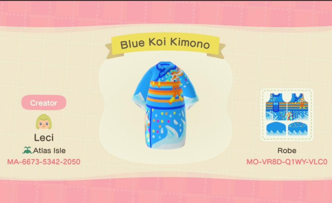 Blue Koi Kimono - Animal Crossing: New Horizons Custom Design