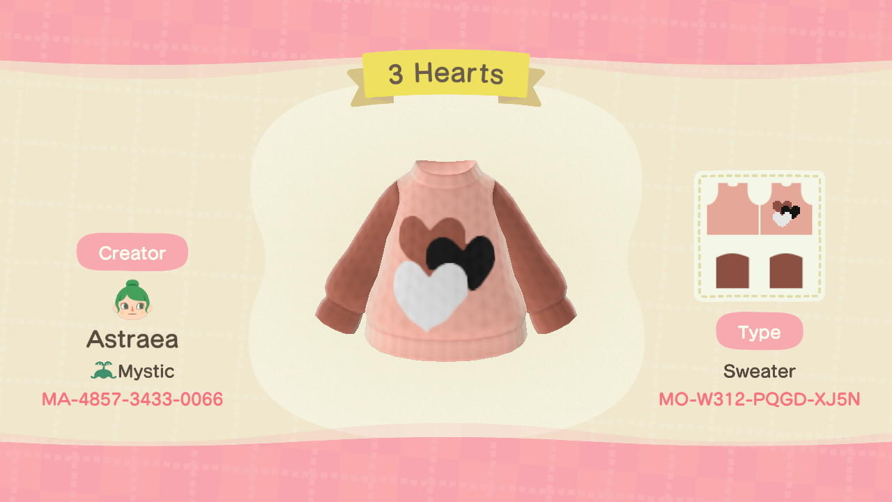 3 Hearts - Animal Crossing: New Horizons Custom Design