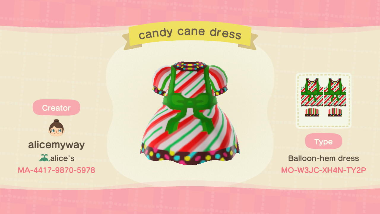Candy Cane Dress - Animal Crossing: New Horizons Custom Design