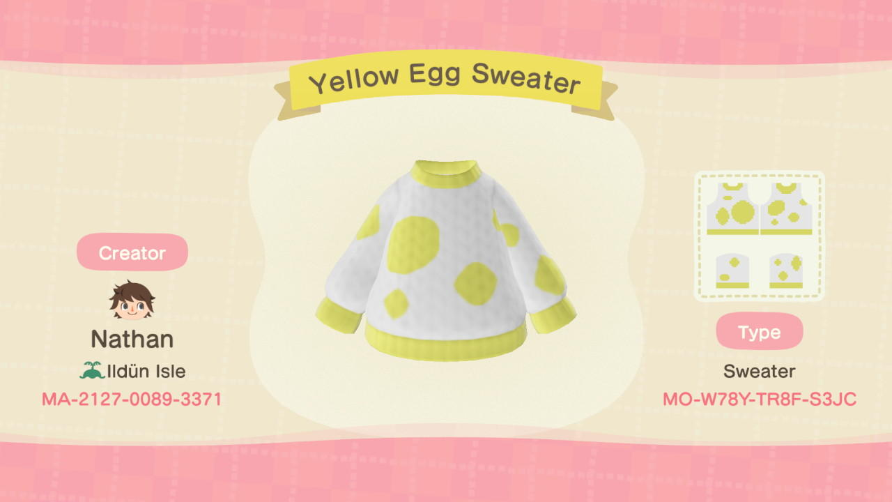 Yellow Egg Sweater - Animal Crossing: New Horizons Custom Design