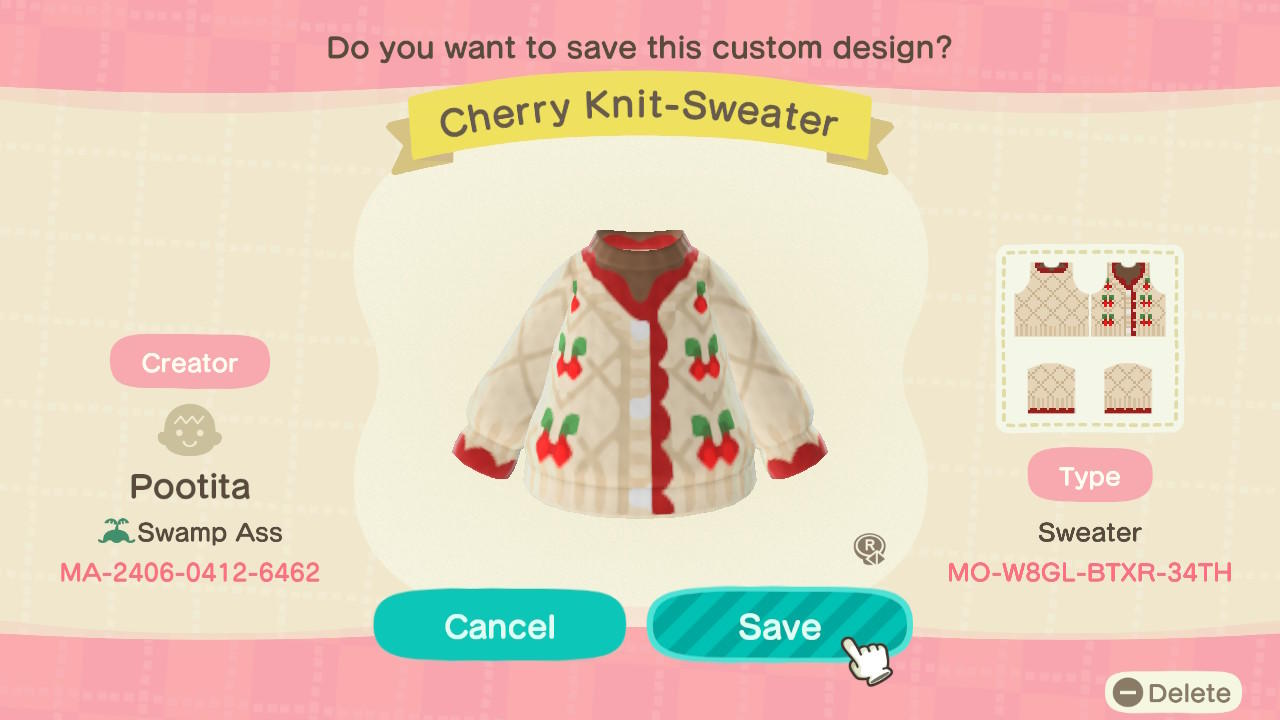 Cherry Knit-Sweater - Animal Crossing: New Horizons Custom Design