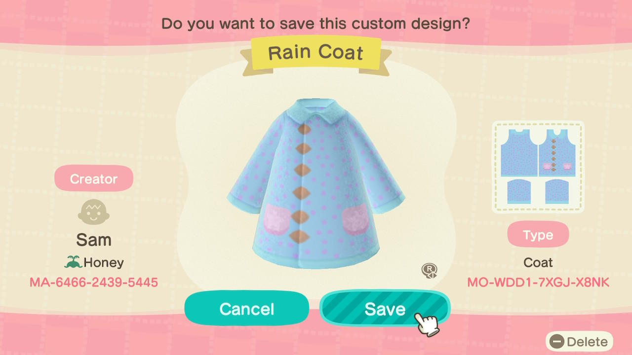 Rain Coat - Animal Crossing: New Horizons Custom Design