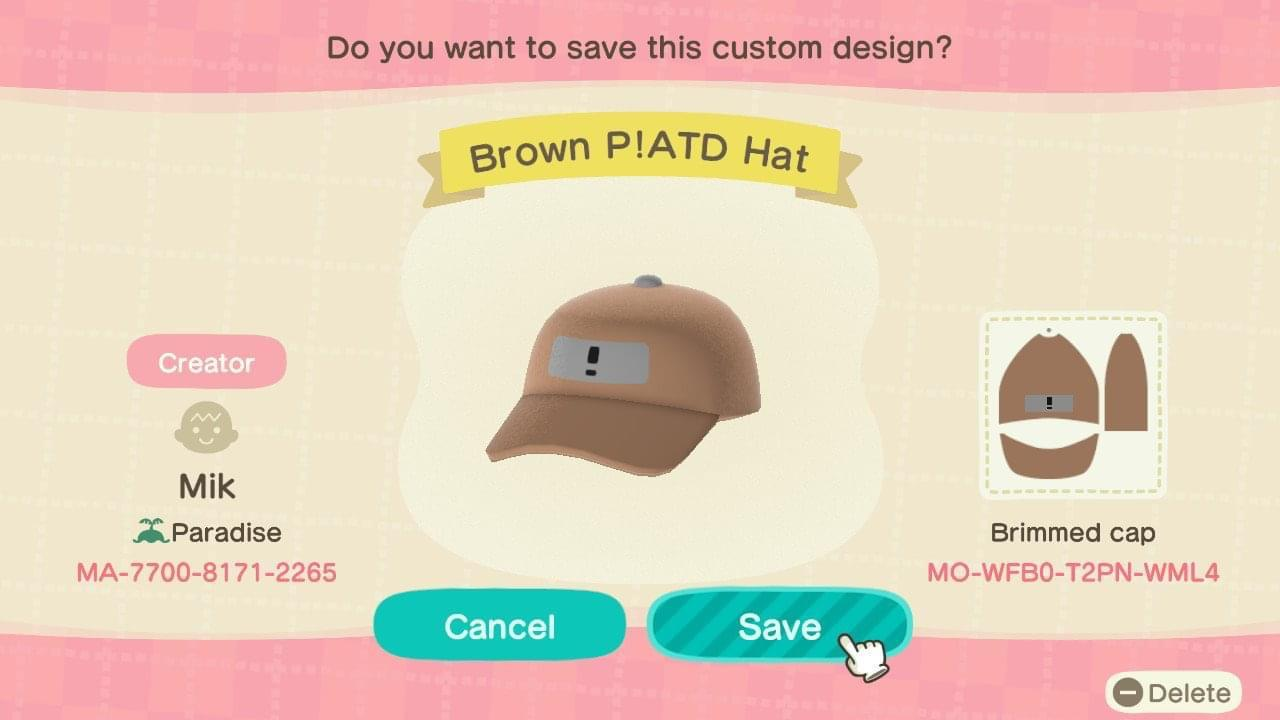 Brown P!ATD Hat - Animal Crossing: New Horizons Custom Design