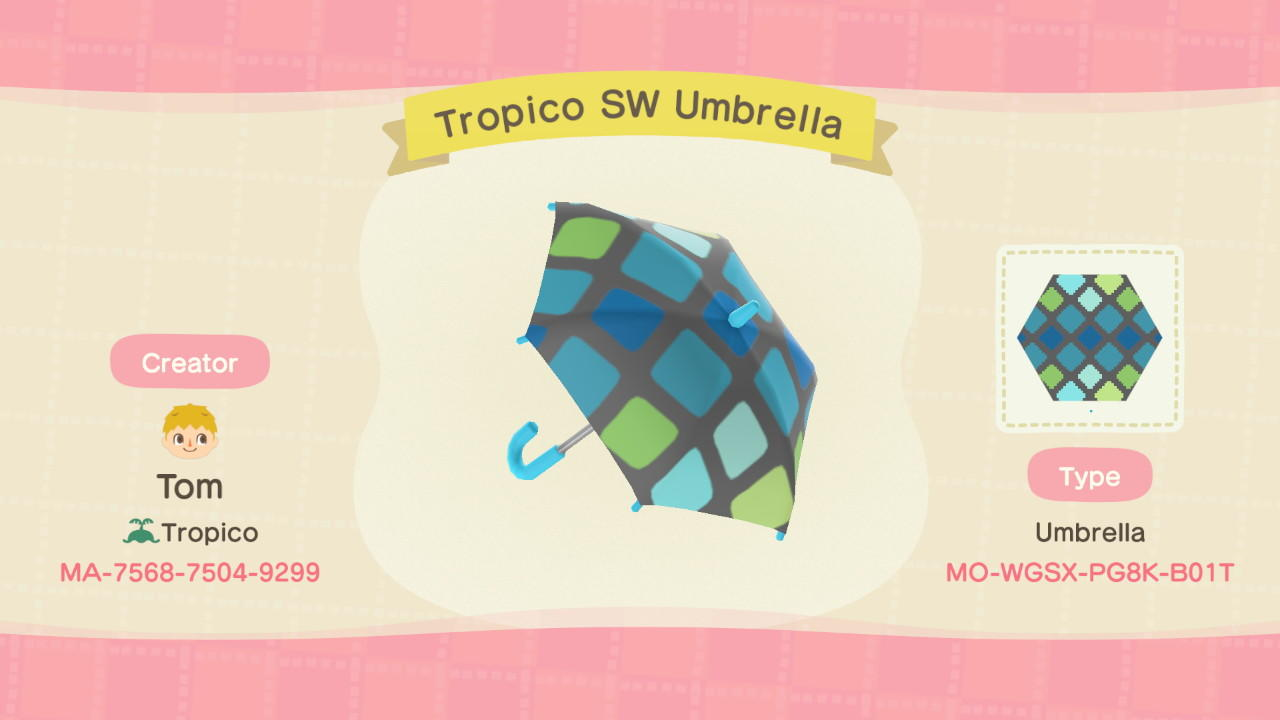 Tropico SW Umbrella - Animal Crossing: New Horizons Custom Design