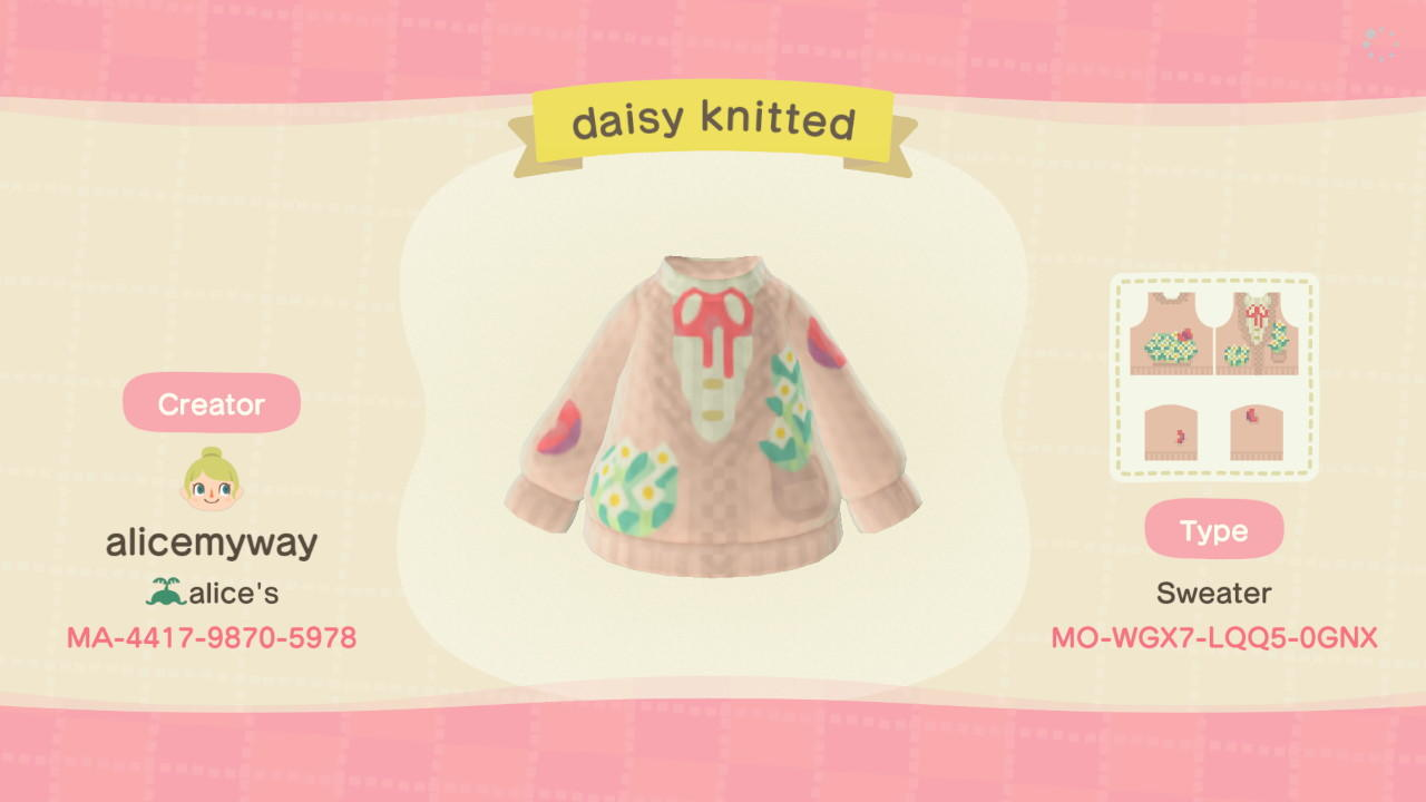 Daisy knitted cardig - Animal Crossing: New Horizons Custom Design