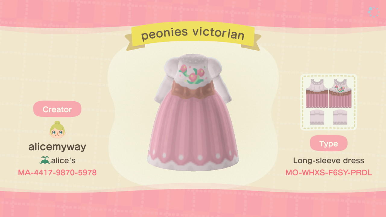 Peonies Victorian - Animal Crossing: New Horizons Custom Design