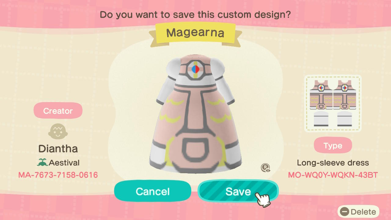 Magearna Dress - Animal Crossing: New Horizons Custom Design