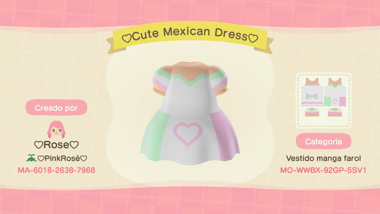 Cute Mexican Dress - Animal Crossing: New Horizons Custom Design