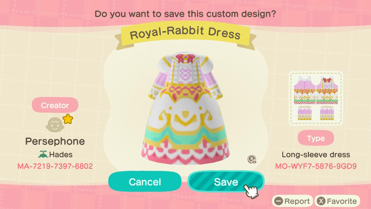 Royal-Rabbit Dress - Animal Crossing: New Horizons Custom Design