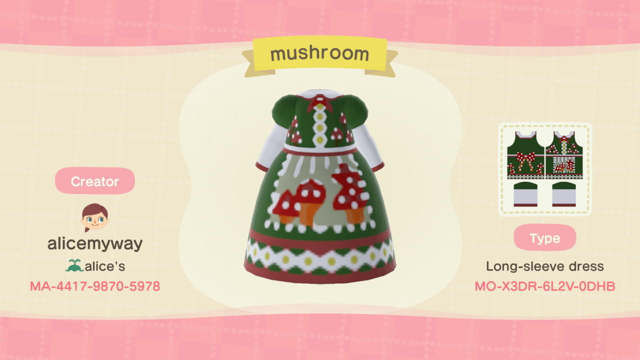 Mushroom dress - Animal Crossing: New Horizons Custom Design